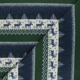 Tissu sweat Pull de Noël - bleu x 10cm