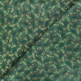Cotton fabric - green Golden houx x 10cm