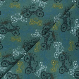 French terry fabric - green Monster trucks x 10cm