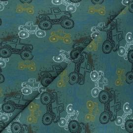 Tissu sweat léger Monster trucks - vert x 10cm