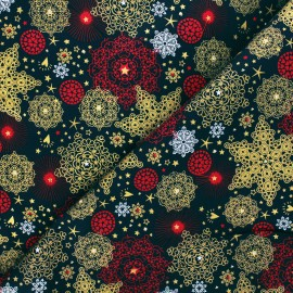 Cotton fabric - dark blue Golden Christmas x 10cm