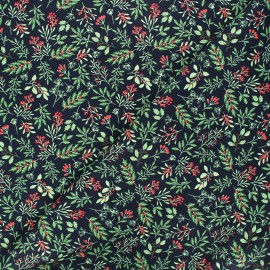 Cotton fabric - white Holly berry x 10cm