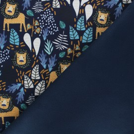 Softshell fabric - night blue Lion promenade x 10cm