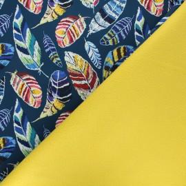 Tissu softshell Colored feathers - bleu x 10cm