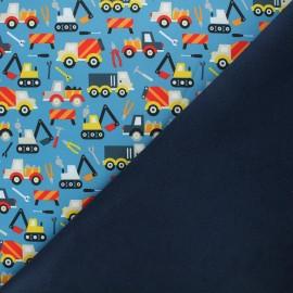 Softshell fabric - blue Work in progress x 10cm