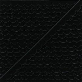 11mm velvet ribbon - black Demi lune x 1m