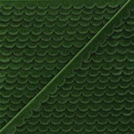 11mm velvet ribbon - green Demi lune x 1m