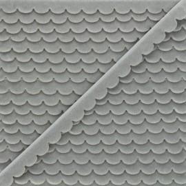 11mm velvet ribbon - grey Demi lune x 1m