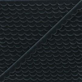 11mm velvet ribbon - dark grey Demi lune x 1m