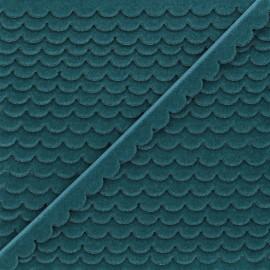 11mm velvet ribbon - peacock green Demi lune x 1m