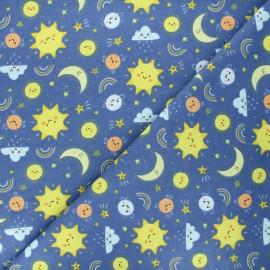 Flannel fabric - blue Ciel joyeux x 10cm