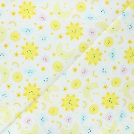 Tissu flanelle Ciel joyeux - blanc x 10cm