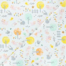 Tissu Flanelle Barnyard animals - blanc x 10cm