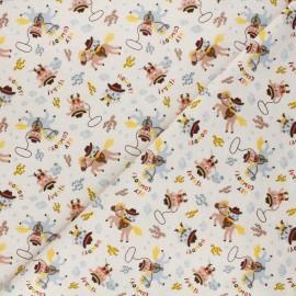 Flannel fabric - beige Howdy x 10cm