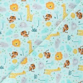 Flannel fabric - celadon blue Save the planet x 10cm