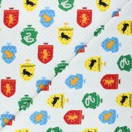 Tissu Flanelle Harry Potter Houses - blanc x 10cm