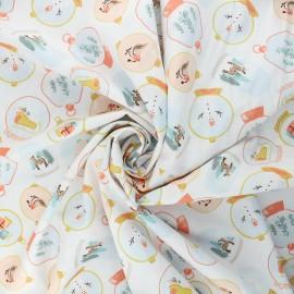 Poppy poplin cotton fabric - white X-mas Snow ball x 10cm