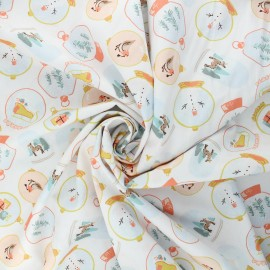 Tissu popeline de coton Poppy X-mas Snow ball - blanc x 10cm