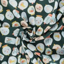 Poppy poplin cotton fabric - dark green X-mas Snow ball x 10cm