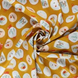 Poppy poplin cotton fabric - mustard yellow X-mas Snow ball x 10cm