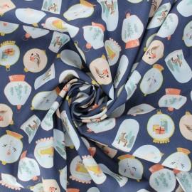 Poppy poplin cotton fabric - navy blue X-mas Snow ball x 10cm