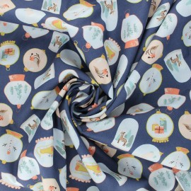 Tissu popeline de coton Poppy X-mas Snow ball - bleu marine x 10cm