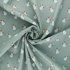 Poppy poplin cotton fabric - sage green X-mas Snowman x 10cm