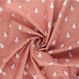 Poppy poplin cotton fabric - pink X-mas Snowman x 10cm