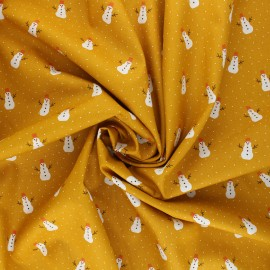 Poppy poplin cotton fabric - mustard yellow X-mas Snowman x 10cm