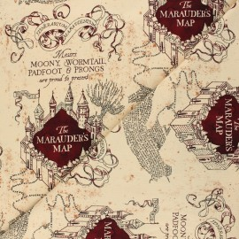 Harry Potter Jersey fabric - beige Carte du Marauder x 10cm