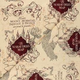 Tissu jersey Harry Potter Carte du Marauder - beige x 10cm