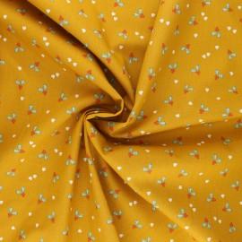 Poppy poplin cotton fabric - mustard yellow X-mas Holly x 10cm