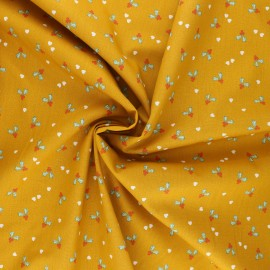 Tissu popeline de coton Poppy X-mas Holly - jaune moutarde x 10cm