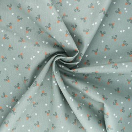 Poppy poplin cotton fabric - sage green X-mas Holly x 10cm