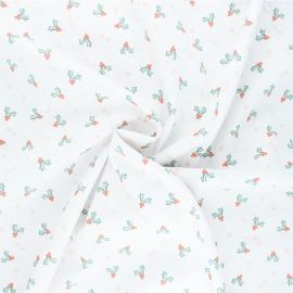 Poppy poplin cotton fabric - white X-mas Holly x 10cm