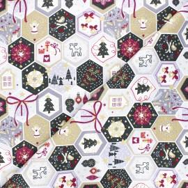 Tissu coton Pastel Christmas Mosaic - blanc x 10cm