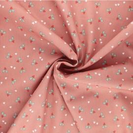 Poppy poplin cotton fabric - pink X-mas Holly x 10cm