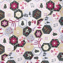 Tissu coton Pastel Christmas Mosaic - rose x 10cm
