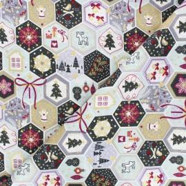 Cotton fabric - pink Pastel Christmas Mosaic x 10cm