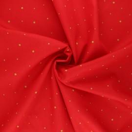 Poppy poplin cotton fabric - red Christmas stars x 10cm