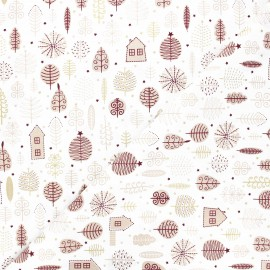 Tissu coton Pastel Christmas garden - blanc x 10cm