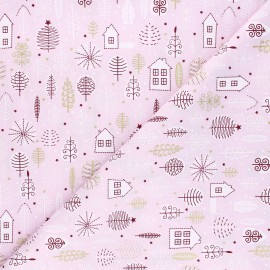 Tissu coton Pastel Christmas garden - rose x 10cm