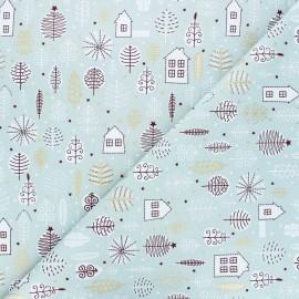 Tissu coton Pastel Christmas garden - céladon x 10cm