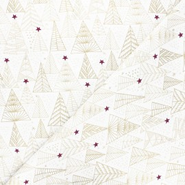 Tissu coton Pastel Christmas trees - blanc x 10cm