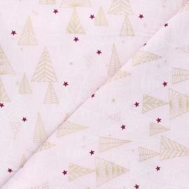 Cotton fabric - white Pastel Christmas trees x 10cm