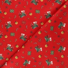 Poppy poplin cotton fabric - red Christmas day x 10cm