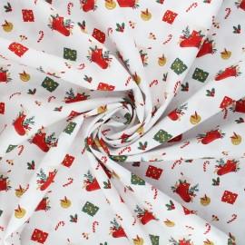 Poppy poplin cotton fabric - white Christmas day x 10cm