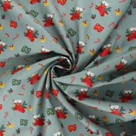 Poppy poplin cotton fabric - sage green Christmas day x 10cm