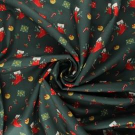 Poppy poplin cotton fabric - dark green Christmas day x 10cm
