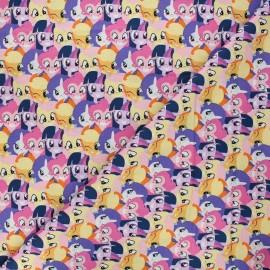 Tissu coton My Little Pony Team - rose x 10 cm